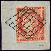 Vermillon Vif. No 7a, Obl Grille, (décollé) Sur Petit Fragment D'origine, Superbe. - RRR - 1849-1850 Ceres