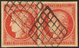 Faux Spérati. No 7, Paire Horizontale Obl Grille Avec Cachet Au Verso. - TB - 1849-1850 Ceres