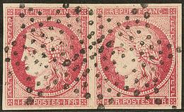 Faux Spérati. No 7, Paire Horizontale Obl étoile, Avec Cachet Au Verso. - TB - 1849-1850 Ceres