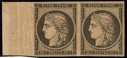 * Réimpression. No 3k, Paire Horizontale Bdf, Gomme Glacée Sinon TB - 1849-1850 Ceres