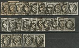 Lot. Nos 3, 3a, 20 Détachés Et Deux Paire Horizontale, Nuances. - TB Ou B - 1849-1850 Ceres