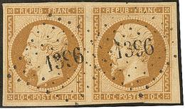No 9b, Paire Horizontale Obl Pc 1396, Petit Bdf, Jolie Pièce. - TB - 1852 Louis-Napoleon