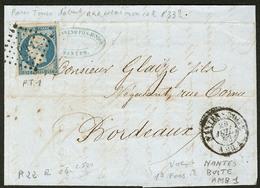 """LETTRE Ambulant. No 10 (def) Obl """"PT1"""" Romaine Sur Lettre Avec Cad """"Nantes Boite AMB.1"""" De Juil 53. - TB - 1852 Louis-Napoleon"""