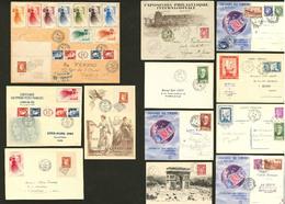 LETTRE 1925-1949, 50 Enveloppes Ou CP, Affts Et Obl En Majorité Philatéliques, Qqs Expos Et Diverses Vignettes. - TB - France