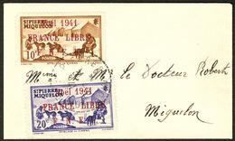 LETTRE France-Libre. Nos 212A + 213A, Obl Cad 31.12.41 Sur Petite Enveloppe Carte De Visite Pour Miquelon. - TB - St.Pierre & Miquelon