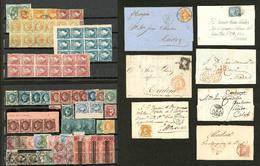 ESPAGNE. Lot. 1853-1864 (Poste), Valeurs, Nuances Et Obl Diverses Dont 7 Enveloppes, Qqs Blocs De Quatre Et 3 Blocs De D - Spain