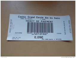 """Ticket De Paiement """"Casino De CARNAC"""" - Monnaies & Billets"""