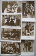 Lot 7 Old Postcards With Danish Actors Pat & Patachon - Postcards