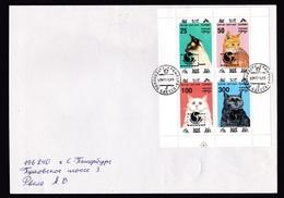 Georgia - Batum/Batumi: Cover, 1994, Mini Sheet, 4 Stamps, Cat, Overprint Philakorea, Rare Real Use! (traces Of Use) - Georgië
