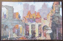 CPA Illustrateur - Reims - Tours De La Cathédrale Et Croisillon Sud - Couleur - Papier à Texture - Color Paris - Illustrators & Photographers