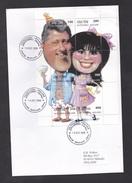 Georgia - Abkhazia: Cover To Finland, 1998, Mini Sheet 6 Stamps, Bill Clinton & Monica Lewinsky, Rare! (traces Of Use) - Georgië