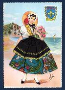 Carte Brodée. Costume Folklorique De La Provence Et Blason. - Costumes