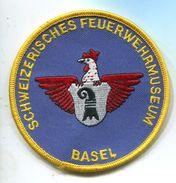 153 Insigne TISSUS  SAPEURS POMPIERS BASEL 90 MM AEROPORT AIR AVIATION - Pompiers