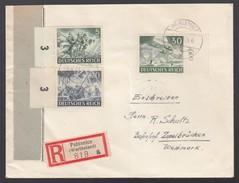 DR Einschreiben Brief MiF Heldengedenktag Randstücke 1943 Pabiance Wartheland Nach Zweibrücken  K649 - Deutschland