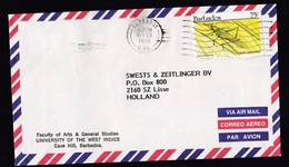 Barbados: Airmail Cover To Netherlands, 1991, 1 Stamp, Grasshopper, Insect, Rare Real Use (traces Of Use) - Barbados (1966-...)