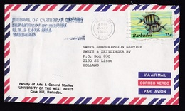 Barbados: Airmail Cover To Netherlands, 1989, 1 Stamp, Sergeant Major Fish, Sea Animal (traces Of Use) - Barbados (1966-...)
