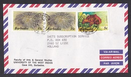 Barbados: Airmail Cover To Netherlands, 1986, 3 Stamps, Coney Fish, Animal Flower, Sea Life, Animal (traces Of Use) - Barbados (1966-...)