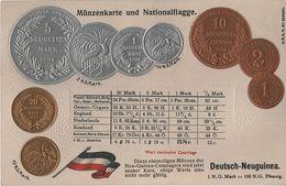 Litho Münzkarte AK Deutsch Neuguinea Kompagnie Kolonie Deutsche Südsee Schutzgebiet Kaiser Wilhelms Land 1894 Coin Pièce - Papua-Neuguinea