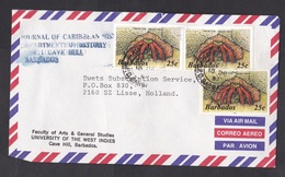 Barbados: Airmail Cover To Netherlands, 1987, 3 Stamps, Hermit Crab, Sea Life, Animal (minor Damage) - Barbados (1966-...)
