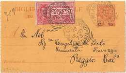 """BIGLIETTO POSTALE """"PROVVISORIO"""" C. 15 Su 20 VIAGGIATO ESPRESSO DA MILANO A REGGIO CALABRIA 28/12/1907 - FILAGRANO """"B9"""" - 1900-44 Victor Emmanuel III"""