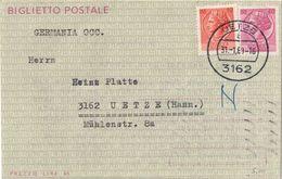 """BIGLIETTO POSTALE """"SIRACUSANA"""" L. 40 DA MILANO A UETZE (GERMANIA) CON ANNULLO SOLO TEDESCO 31/01/1969 - FILAGRANO """"B47"""" - 1946-.. République"""