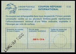 TOGO La25A  200fr CFA   International Reply Coupon Reponse Antwortschein IAS IRC O LOME RP TOGO - Togo (1960-...)