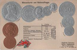 Litho Münzkarte AK Hongkong Hong Kong China Chine Straits Settlements British Empire Colony Kolonie Asia Asie Coin Pièce - China (Hong Kong)