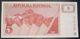SLOVENIA - 5  PET- FIOR DI STAMPA - CARTAMONETA - PAPER MONEY - Slovenia