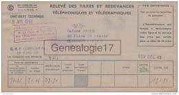 63 1672 CLERMONT FERRAND PUY DOME 1960 RELEVE DES TAXES REDEVANCES TELEPHONIQUES TELEGRAPHIQUES - Telephony