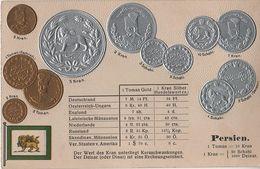 Litho Münzkarte AK Persien Iran Schahi Senaar Kran Toman Eschref Naser Ad Din Schah Reza Pahlavi Asia Asie Coin Pièce - Iran