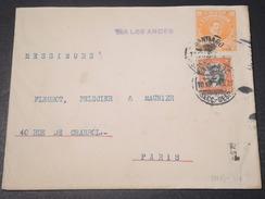 """CHILI - Entier Postal + Complément De Santiago Pour La France En 1915 , Griffe """"  Via Los Andes  """" - L 11322 - Chile"""