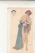 Postcard Raphael Kirkhner - Women With Pierrot Mask. Inused Inizio 900 - Kirchner, Raphael