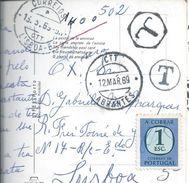 Obliteração Hexágonal Em Carta Multada Expedida De Abrantes Em 1969. Postal Do Regimento De Infantaria 2 De Abrantes.3sc - Port Dû (Taxe)