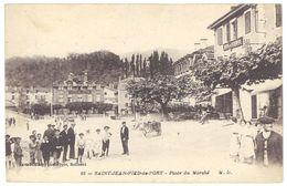 Cpa Saint Jean Pied De Port - Place Du Marché - Saint Jean Pied De Port