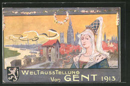 CPA Illustrateur Gent, Weltausstellung 1913, Vue Générale Avec L'Église - Esposizioni