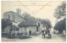 Cpa Cazaubon - Entrée De La Ville - Avenue D'Eauze Et L'église ( Attelage ) - France