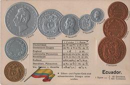 Litho Münzkarte AK Ecuador Ekuador Centavo Sucre Condor Nationalflagge Coin Pièce Moneda America De Sur Bandera Pabellon - Ecuador