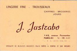 Carte Commerciale J. JUSTRABO / Lingerie Fine Trousseaux Broderie / Paris - Cartes