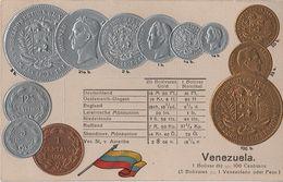 Litho Münzkarte AK Venezuela Centavo Bolivar Peso Nationalflagge Coin Pièce Moneda America Del Sur Bandera Pabellon - Venezuela