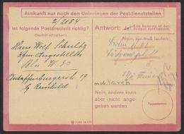 """""""Eilauftrag Zur Prüfung Einer Postanschrift"""", Bedarfsverwendet 12/44 Aber Kein Poststempel, O - Allemagne"""