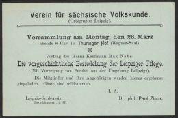 """Mi-Nr. P63x, Sauberer Orts-Bedarf """"Leipzig"""", Zudruck """"Verein Für Sächsische Volkskunde, 1906, Stempel """"Volkmarshausen"""",o - Deutschland"""