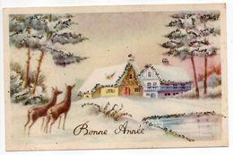 Nouvel An--1953--Paysage De Neige Et Biches --  Grains De Givres -- - Nouvel An