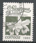 Nicaragua 1986. Scott #1517 (U) Cattleya Lueddemanniana, Fleurs, Flowers - Nicaragua