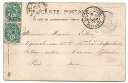 France--Beau Cachet Manuel  PARIS POSTE RESTANTE Du 1-2-1904  Sur Carte Postale Fleurs - Marcophilie (Lettres)