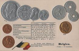 Litho Münzkarte AK Belgien Belgique Belgium Cent Franc Roi Leopold II Nationalflagge Geld Münze Coin Pièce Moneda Money - Monnaies (représentations)