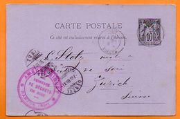 NANTUA    1886   GENEVE  Entier Postal  N° JJ 195 - Cachets Manuels