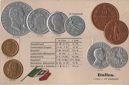 Litho Münzkarte AK Italien Italia Italy Italie Centesimi Lira Lire Nationalflagge Geld Münze Coin Pièce Moneta Money - Monete (rappresentazioni)