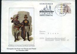 Bund PU23 B1/001b Privat-Umschlag POSTILLIONE Gebraucht Sigmaringen 1968  NGK 10,00€ - Post