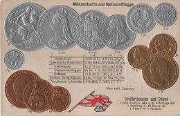 Litho Münzkarte AK Großbritannien Irland Great Britain Ireland Irlande Angleterre Eire Pound National Flag Coin Money - Coins (pictures)