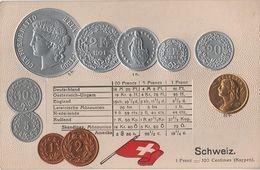 Litho Münzkarte AK Schweiz Suisse Switzerland Rappen Franc Schweizer Franken Nationalflagge Geld Münze Coin Money Pièce - Monnaies (représentations)